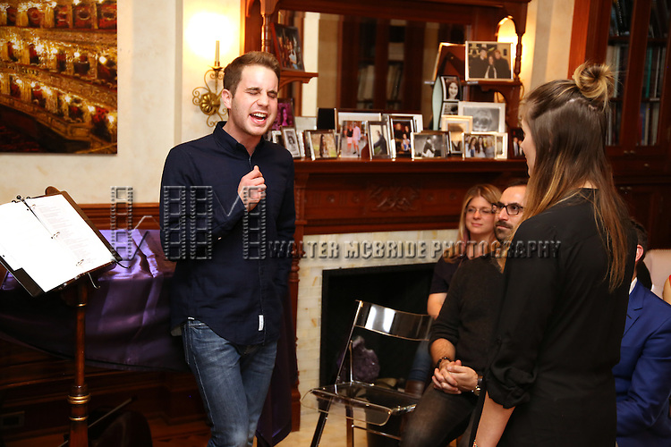 Ben Platt and Laura Dreyfuss during the Dramatists Guild Fund intimate salon with Benj Pasek and Justin Paul at the home of Kara Unterberg on March 7, 2016 in New York City.