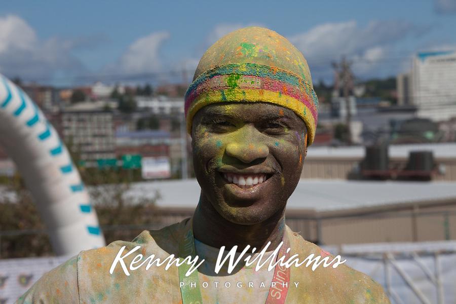 Man covered with dye, The Color Run 2015, Tacoma, Washington State, WA, America, USA.