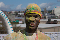 Man covered with dye, The Color Run 2015, Tacoma, Washington State, WA, America, USA.
