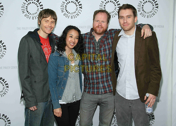 "JED WHEDON,  MAURISSA TANCHAROEN, JOSS WHEDON & ZACK WHEDON.The 26th Annual William S. Paley Television Festival presents ""Dr. Horrible's Sing-Along Blog"" held at the ArcLight Cinemas, Hollywood, California, USA..April 14th, 2009.half length Tanchareon black jacket blue shirt stubble facial hair red blue check checked shirt hand beard grey gray.CAP/ADM/TC.©T. Conrad/AdMedia/Capital Pictures."