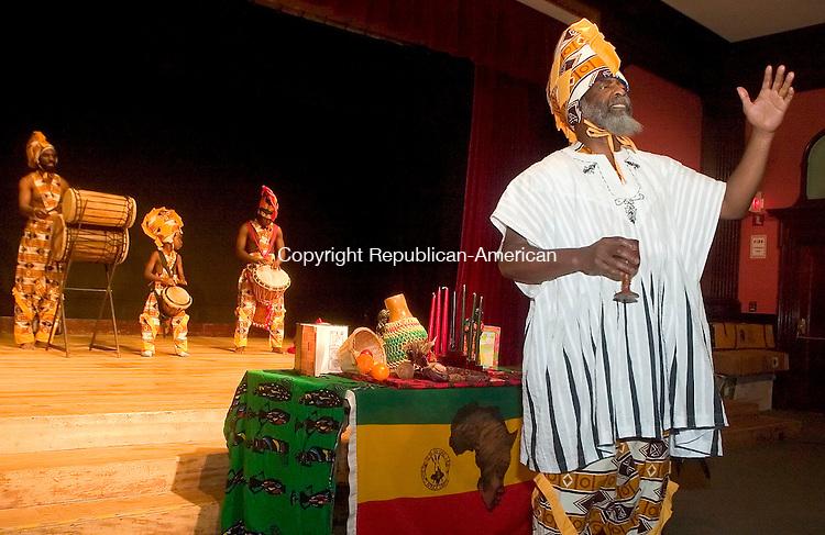 WATERBURY, CT- 30 DEC 06- 123006JT01- <br /> Abashai Ben Reuben from Sounds of Afrika begins a Kwanzaa performance at Mattatuck Museum in Waterbury on Saturday afternoon.<br /> Josalee Thrift Republican-American
