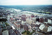 Albany: View from the Tower looking Northeast towards downtown and Hudson River. Photo '88.