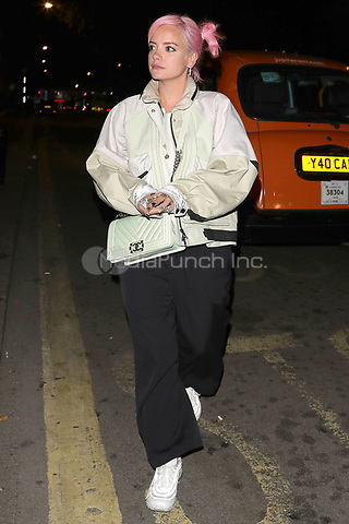Lily Allen is pictured arriving at Annabels Club for Drake's Scorpion Release Party in London.<br />
