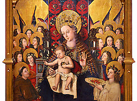 Virgin Mary; Mother of God; The Virgin; Mare de deu; Gothic altarpiece of Madonna and Child by Joan Reixach of Barcelona, circa 1450, tempera and gold leaf on wood, from the sanctuary of San Pau d'Albocasser, Castello..  National Museum of Catalan Art, Barcelona, Spain, inv no: MNAC  64055.