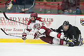 Desmond Bergin (Harvard - 37), Justin Breton (Bentley - 3) - The Harvard University Crimson defeated the visiting Bentley University Falcons 3-0 on Saturday, October 26, 2013, in Harvard's season opener at Bright-Landry Hockey Center in Cambridge, Massachusetts.