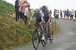 White Jersey Egan Bernal (COL) Team Ineos and Emanuel Buchmann (GER) Bora-Hansgrohe approach the finish on Prat d'Albis during Stage 15 of the 2019 Tour de France running 185km from Limoux to Foix Prat d'Albis, France. 20th July 2019.<br /> Picture: Colin Flockton | Cyclefile<br /> All photos usage must carry mandatory copyright credit (© Cyclefile | Colin Flockton)