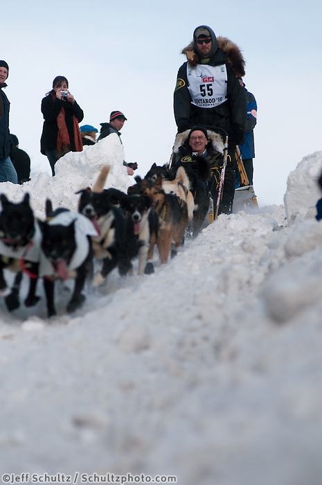 2010 Iditarod Ceremonial Start in Anchorage Alaska musher # 55 GERRY WILLOMITZER with Iditarider HARRY SMITH