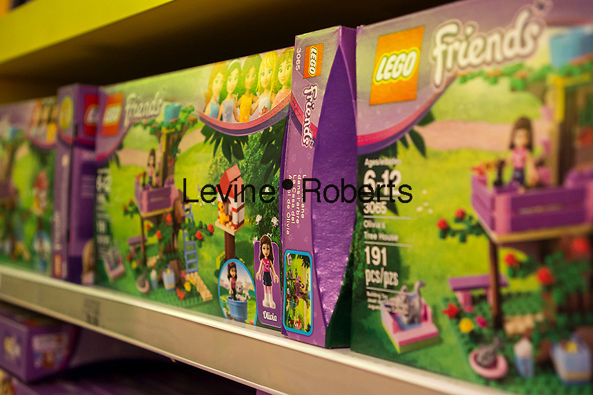 Boxes of Lego Friends, a Lego brand targeted to younger girls, is seen in a toy store in New York on Friday, March 1, 2013.  (© Richard B. Levine)