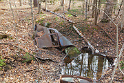 Abandoned car at the site of the old North Woodstock Civilian Conservation Corps Camp in North Woodstock, New Hampshire USA