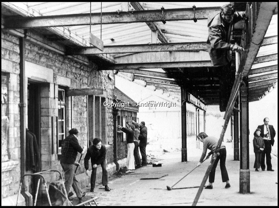 BNPS.co.uk (01202 558833)<br /> Pic: AndrewWright/BNPS<br /> <br /> Volunteers start restoring the station in 1977.<br /> <br /> A public train service is to run on a railway line ripped up in the 'Beeching Axe' thanks to an army of volunteers who have spent 45 years painstakingly rebuilding it. From next month timetabled passenger trains will operate on a daily basis from the mainline down to Swanage in Dorset.The Victorian town was effectively cut off from the rail network in 1972 after Dr Richard Beeching, a government railway advisor, recommended it be one of hundreds of loss-making rural lines axed.Since then hundreds of people have restored the track which has been upgraded to meet today's safety standards.