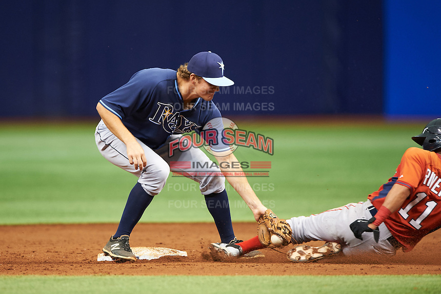 Tampa Bay Rays Michael Russell (22) tags Jeremy Rivera (11) sliding into second during an instructional league game against the Boston Red Sox on September 24, 2015 at Tropicana Field in St Petersburg, Florida.  (Mike Janes/Four Seam Images)
