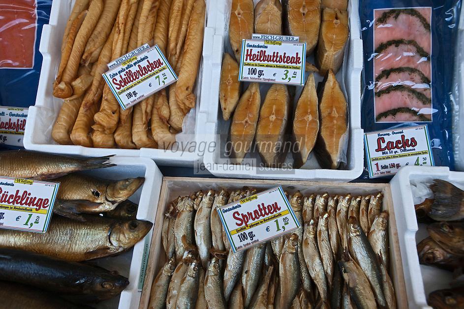 Europe/Autriche/Niederösterreich/Vienne: Marché Naschmarkt - Etal de poissons fumés