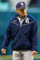 Rice Owls head coach Wayne Graham #37 walks off the field after having meet with his pitcher during the game against the Baylor Bears at Minute Maid Park on March 6, 2011 in Houston, Texas.  Photo by Brian Westerholt / Four Seam Images