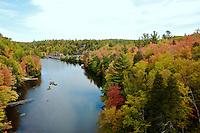 A view of the abandoned County Road 510 bridge during the autumn season. Marquette  County - Upper Peninsula