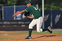 Greensboro Grasshoppers pitcher Kenneth Toves #27 delivers  a pitch during the first game of a double header against the Asheville Tourists at McCormick Field on July 26, 2011 in Asheville, North Carolina. Asheville won the game 12-4.   (Tony Farlow/Four Seam Images)
