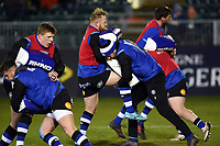Bath Rugby players in action during the pre-match warm-up. Aviva Premiership match, between Bath Rugby and Northampton Saints on February 9, 2018 at the Recreation Ground in Bath, England. Photo by: Patrick Khachfe / Onside Images