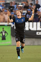 SAN JOSE, CA - AUGUST 24: Florian Jungwirth #23 of the San Jose Earthquakes during a game between Vancouver Whitecaps FC and San Jose Earthquakes at Avaya Stadium on August 24, 2019 in San Jose, California.