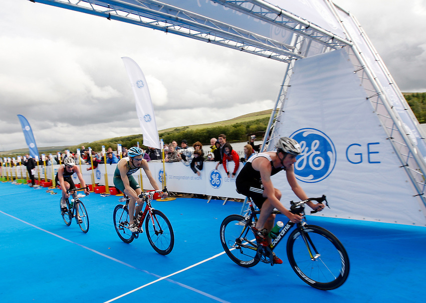 Photo: Richard Lane/Richard Lane Photography. GE Parc Bryn Bach Triathlon. 19/09/2010. (Front to back) Jonathan Brownlee , Stuart Hayes and Alistair Brownlee cycle during the Elite Mens' race.