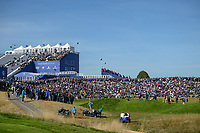 A wide view of the massive crowd gathered near the green on 9 during Saturday's foursomes of the 2018 Ryder Cup, Le Golf National, Guyancourt, France. 9/29/2018.<br /> Picture: Golffile | Ken Murray<br /> <br /> <br /> All photo usage must carry mandatory copyright credit (&copy; Golffile | Ken Murray)