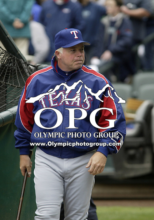 10 April 2005: Texas Rangers coach Buck Showalter watches his team warm up before the start of the game against the Seattle Mariners at Safeco field in Seattle, WA.