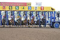 Princess Arabella (no. 3), ridden by Martin Garcia and trained by Bob Baffert, wins the 12th running of the Sunland Park Oaks for three year old fillies on March 25, 2012 at Sunland Park Racetrack in Sunland Park, New Mexico.  (Bob Mayberger/Eclipse Sportswire)