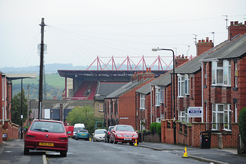A general view of Oakwell home of Barnsley, taken from Belgrave Road, Barnsley<br /> <br /> Photo by Chris Vaughan/CameraSport<br /> <br /> Football - The Football League Sky Bet Championship - Barnsley v Middlesbrough - Saturday 19th October 2013 - Oakwell Stadium - Barnsley<br /> <br /> &copy; CameraSport - 43 Linden Ave. Countesthorpe. Leicester. England. LE8 5PG - Tel: +44 (0) 116 277 4147 - admin@camerasport.com - www.camerasport.com