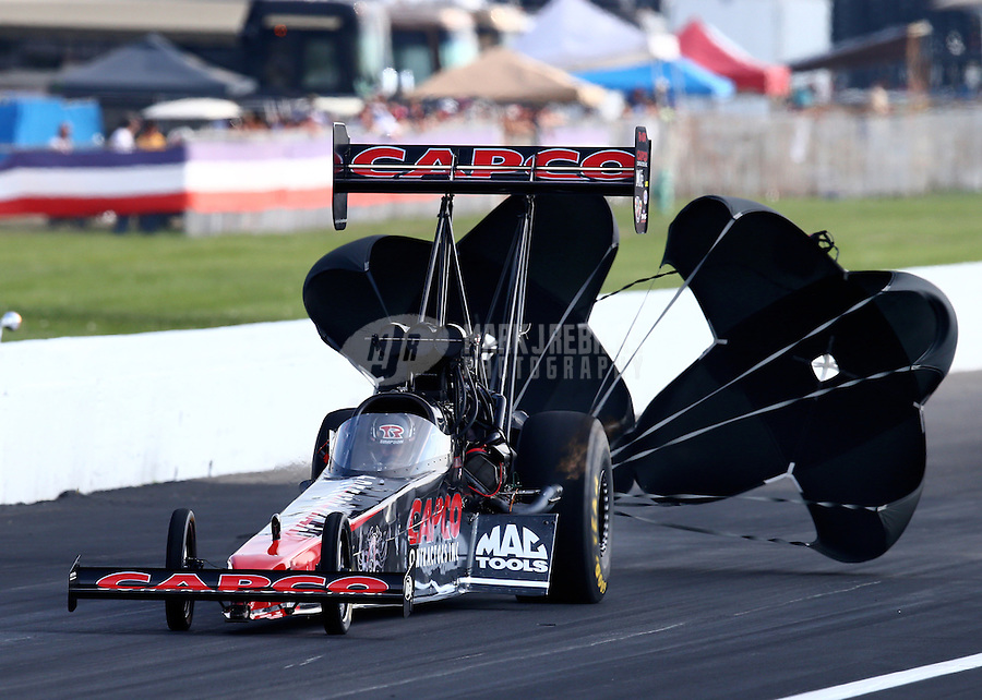 Sep 6, 2015; Clermont, IN, USA; NHRA top fuel driver Billy Torrence during qualifying for the US Nationals at Lucas Oil Raceway. Mandatory Credit: Mark J. Rebilas-USA TODAY Sports