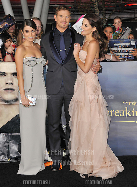 "Nikki Reed (left), Kellan Lutz & Ashley Greene at the world premiere of their movie ""The Twilight Saga: Breaking Dawn - Part 2"" at the Nokia Theatre LA Live..November 12, 2012  Los Angeles, CA.Picture: Paul Smith / Featureflash"