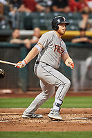 A.J. Reed (18) of the Fresno Grizzlies bats against the Salt Lake Bees at Smith's Ballpark on September 3, 2017 in Salt Lake City, Utah. The Bees defeated the Grizzlies 10-8. (Stephen Smith/Four Seam Images)