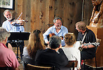 Bob Stern (Violin) with Gil Gutierrez (Guitar) joined by George Stavis (Banjo) in their performance at Opus 40, in Saugerties, NY on Saturday May 9, 2015. Photo by Jim Peppler. Copyright Jim Peppler 2015.