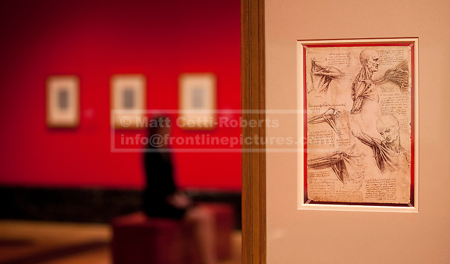 30/04/2012. LONDON, UK. 'The muscles of the shoulder', sketched c.1510 by Leonardo da Vinci is seen at an exhibition at the Queen's Gallery in London today (30/04/12). Featuring 87 pages of sketches from the artist's notebooks the exhibition, entitled 'Leonardo da Vinci: Anatomist', is the largest ever of his anatomical work and opens at The Queen's Gallery in London on Friday the 4th of May. Photo credit: Matt Cetti-Roberts