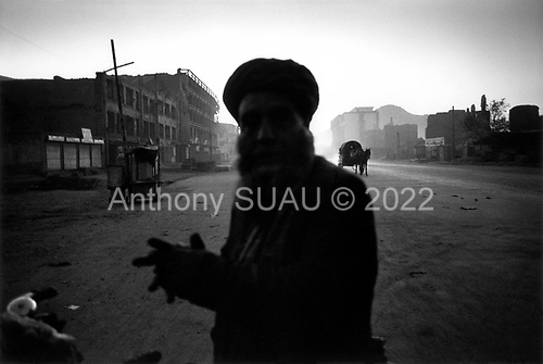 Kabul, Afghanistan<br /> November 19, 2001<br /> <br /> Dusk falls on a city street.