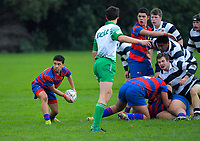 Action from the Manawatu Secondary Schools Premier 3 grade rugby match between Hato Paora 2nd XV and Palmerston North Boys' High School 4th XV at Coronation Park in Palmerston North, New Zealand on Saturday, 17 August 2019. Photo: Dave Lintott / lintottphoto.co.nz