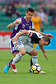 25th March 2018, nib Stadium, Perth, Australia; A League football, Perth Glory versus Melbourne Victory; Leigh Broxham of Melbourne Victory is tackled from behind by Joel Chianese of Perth Glory during the first half