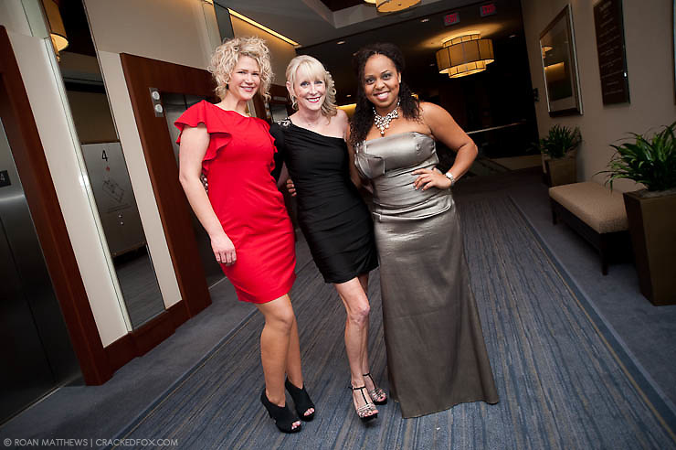 Joan Rivers stylist (l) with Rebecca White and Red Carpet Host Ayana Mack at Houston Area Women's Center 2011 Gala with Joan Rivers