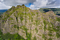 An aerial view of the Ko'olau Mountains, Kualoa, Windward O'ahu.