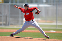 Boston Red Sox pitcher Austin Maddox #79 during a minor league Spring Training game against the Minnesota Twins at JetBlue Park Training Complex on March 27, 2013 in Fort Myers, Florida.  (Mike Janes/Four Seam Images)