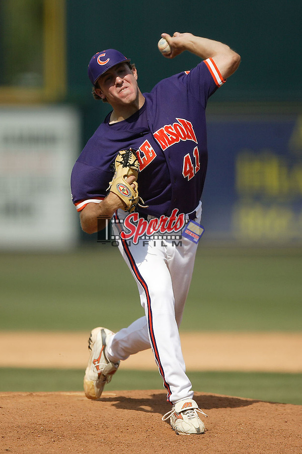 Clemson's Daniel Moskos (41) delivers a pitch to the plate versus Georgia Tech at the 2006 ACC Baseball Championship at the Baseball Grounds of Jacksonville in Jacksonville, FL, Saturday, May 27, 2006.  Georgia Tech defeated Clemson 8-7 in 10 innings.