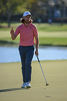 Tommy Fleetwood (ENG) drains his birdie putt on 6 during round 2 of the Arnold Palmer Invitational at Bay Hill Golf Club, Bay Hill, Florida. 3/8/2019.<br /> Picture: Golffile | Ken Murray<br /> <br /> <br /> All photo usage must carry mandatory copyright credit (&copy; Golffile | Ken Murray)