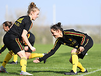 20190226 - LARNACA , CYPRUS :  Belgian Elena Dhont (left) pictured in a duel with Belgian Lola Wajnblum (r) during a Matchday -1 training from The Belgian Red Flames prior to their game against the women team of Slovakia , on Tuesday 26 February 2019 at the Alpha Sports Grounds in Larnaca , Cyprus . This will be the first game in group C for Belgium during the Cyprus Womens Cup 2019 , a prestigious women soccer tournament as a preparation on the European Championship 2021 qualification duels. PHOTO SPORTPIX.BE | DAVID CATRY