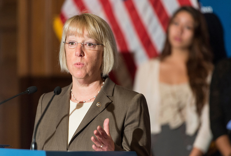 "UNITED STATES - JUNE 26: From left, Senate Veterans Affairs Chairwoman Patty Murray, D-Wash., speaks during a news conference in the Capitol to ""make a strong push for an inclusive Violence Against Women Act (VAWA) law that expands protections to additional women"" on Tuesday, June 26, 2012. (Photo By Bill Clark/CQ Roll Call)"