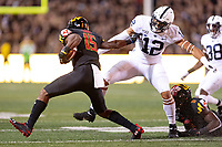 College Park, MD - SEPT 27, 2019: Maryland Terrapins wide receiver Brian Cobbs (15) fights off a tackle attempt from Penn State Nittany Lions linebacker Brandon Smith (12) during game between Maryland and Penn State at Capital One Field at Maryland Stadium in College Park, MD. The Nittany Lions beat the Terps 50-0. (Photo by Phil Peters/Media Images International)