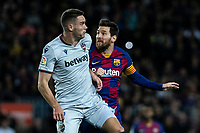 2nd February 2020; Camp Nou, Barcelona, Catalonia, Spain; La Liga Football, Barcelona versus Levante; Lionel Messi of FC Barcelona is eased off the ball as he goes forward