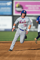 Reed Gamache (13) of the Kingsport Mets hustles towards third base against the Danville Braves at American Legion Post 325 Field on July 9, 2016 in Danville, Virginia.  The Mets defeated the Braves 10-8.  (Brian Westerholt/Four Seam Images)