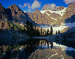 North Cascades National Park, WA<br /> Afternoon sun on Mount Shuksan with a mirror reflection in Lake Ann