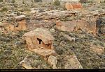 Eroded Boulder House and Rim Rock House, Anasazi Hisatsinom Ancestral Puebloan Site, Square Tower Settlement, Little Ruin Canyon, Hovenweep National Monument, Colorado - Utah Border