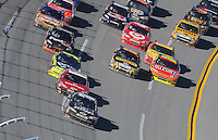 Nov. 1, 2009; Talladega, AL, USA; NASCAR Sprint Cup Series driver Dale Earnhardt Jr (88) leads the field during the Amp Energy 500 at the Talladega Superspeedway. Mandatory Credit: Mark J. Rebilas-