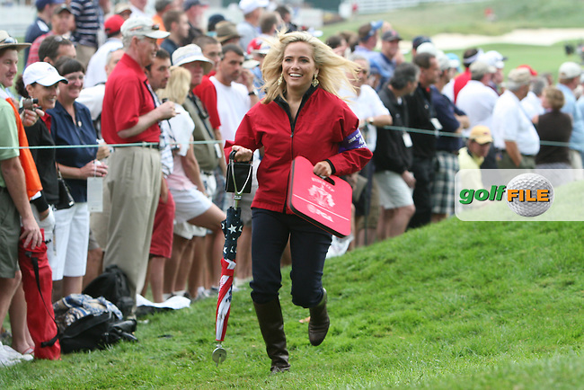 One of the American wives plays catch up down the first during the morning foursomes at The 37th Ryder cup from Valhalla Golf Club in Louisville, Kentucky....Photo: Fran Caffrey/www.golffile.ie.
