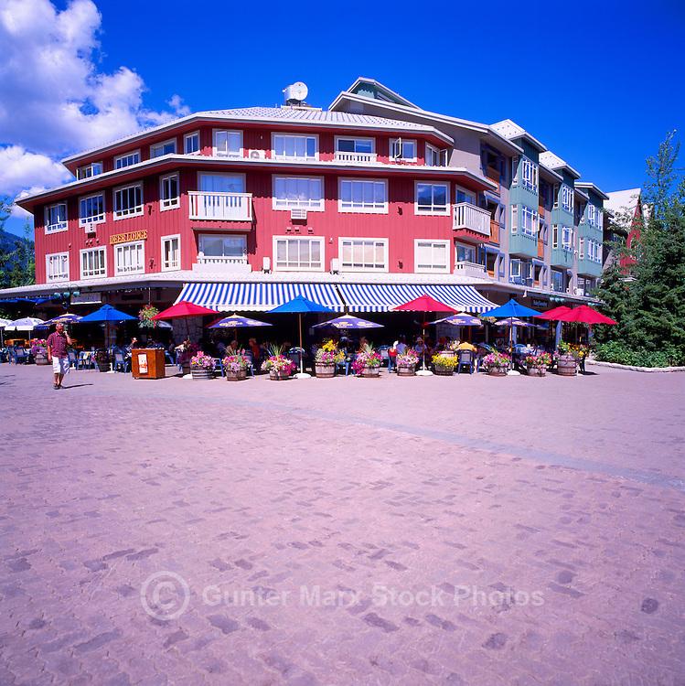Whistler Village North, Whistler Ski Resort, BC, British Columbia, Canada, Summer - Restaurant and Condominium Building at Town Plaza and Village Stroll