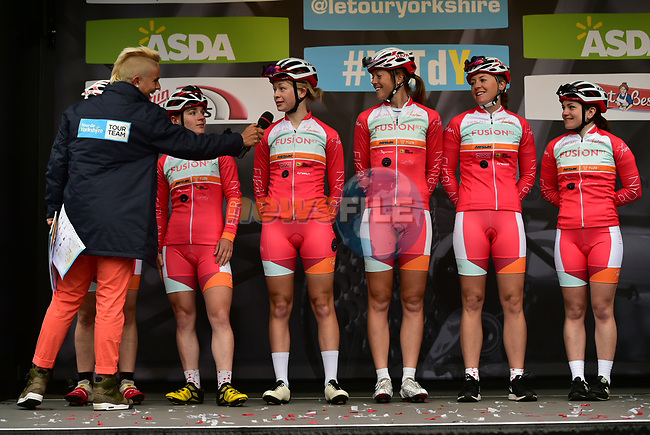 Fusion RT team at sign on before the start of the ASDA Women's Tour de Yorkshire 2017 running 122.5km from Tadcaster to Harrogate, England. 29th April 2017. <br /> Picture: ASO/P.Ballet | Cyclefile<br /> <br /> <br /> All photos usage must carry mandatory copyright credit (&copy; Cyclefile | ASO/P.Ballet)